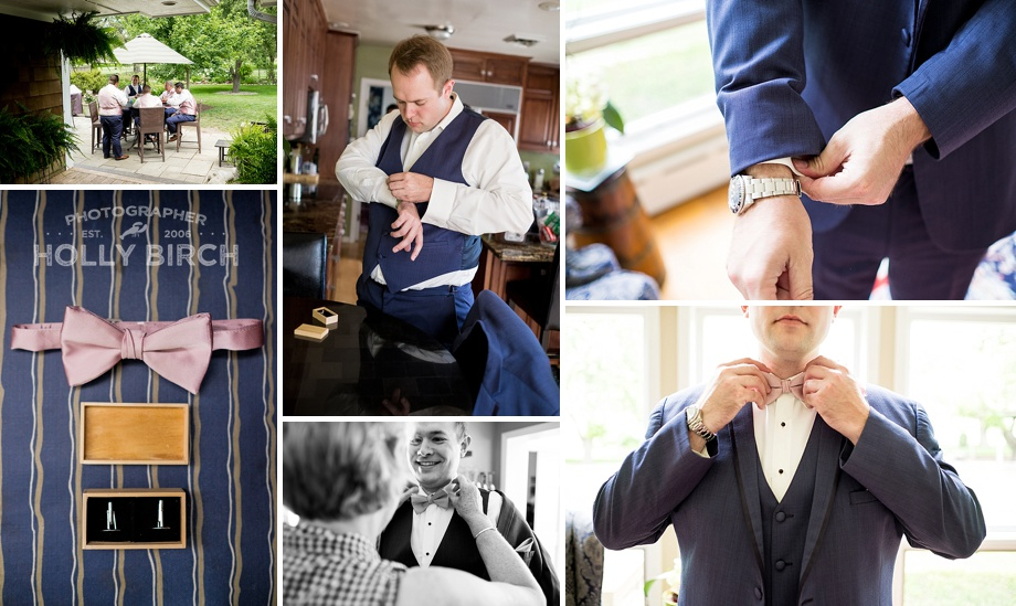 groom getting dressed at private residence