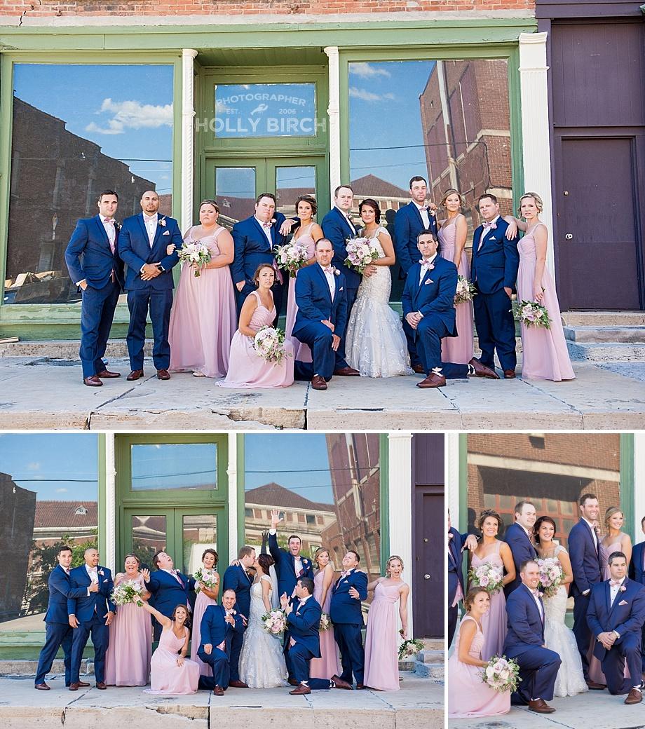 fun wedding party photos in alleyway