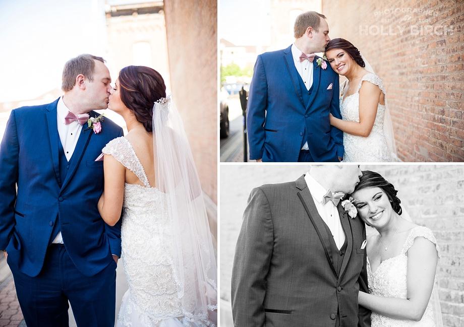 bride with her head on groom's shoulder