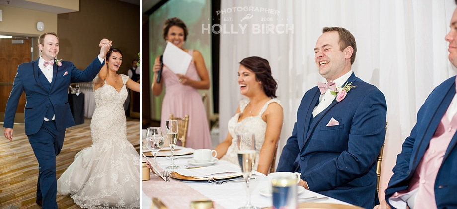 couple's entrance and laughing at toasts