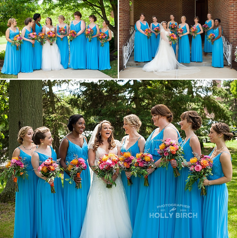 teal bridesmaid dresses with colorful flowers