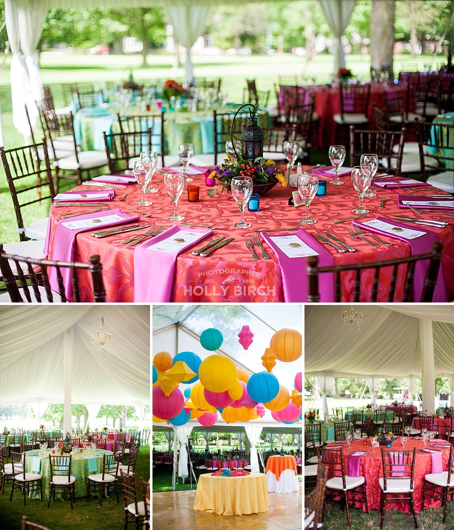 Colorful Moroccan inspired garden party tent wedding