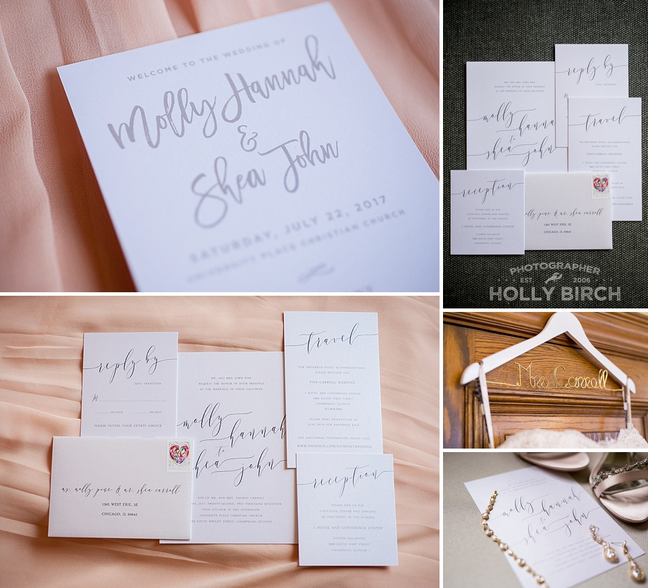 invitation print suite with name hanger