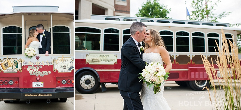 just married kissing on the trolley