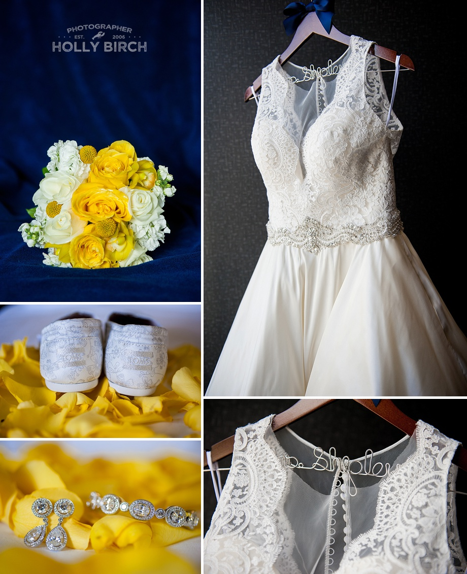 navy and yellow wedding jewelry shoes bouquet and dress