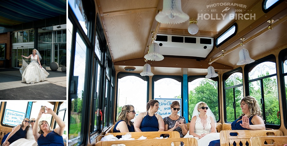 riding in the Naperville wedding trolley