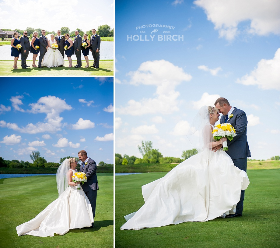 bride and groom on golf course with blue skies