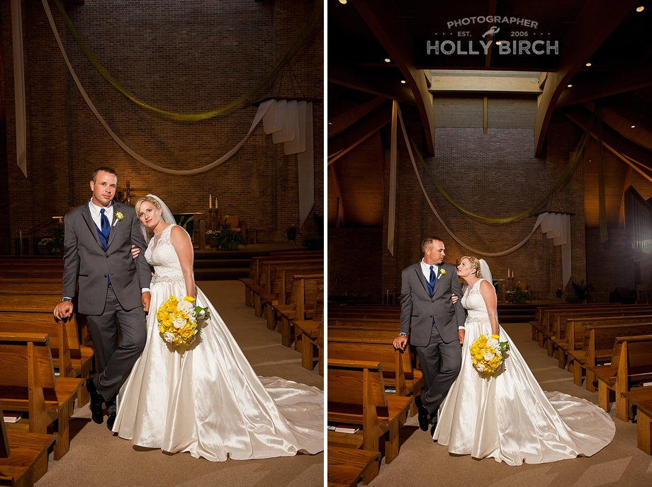 church photos with off-camera flash following ceremony