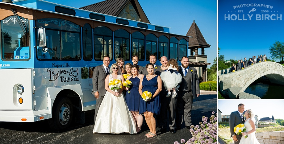 wedding party with trolley and bridge