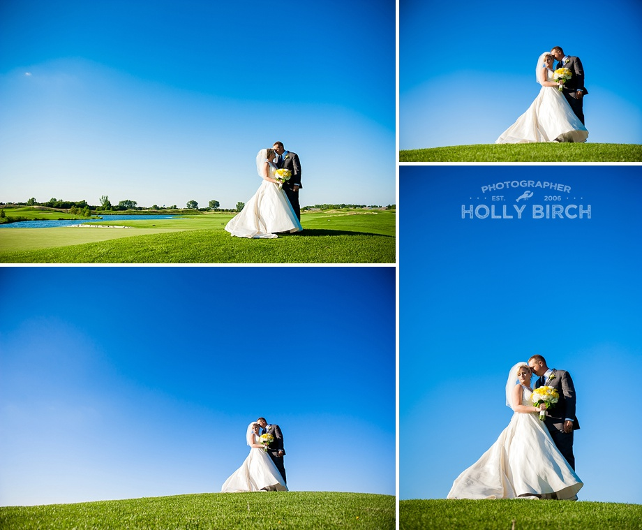bride and groom avant garde portraits with deep blue skies and green grass