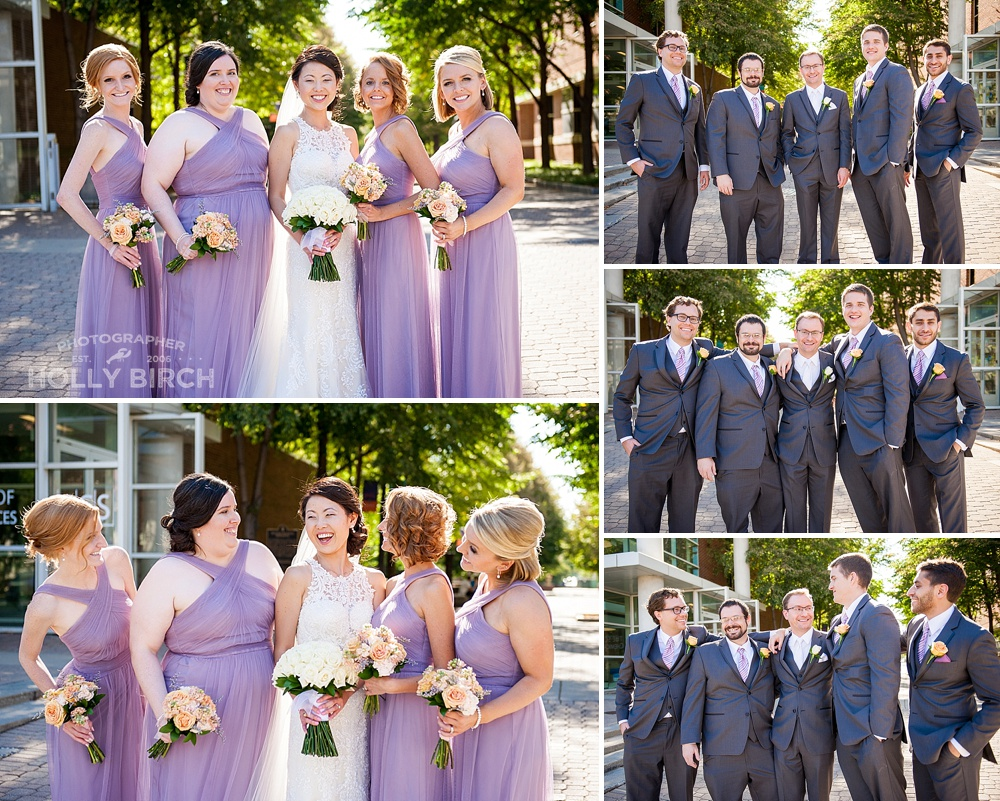lavender bridesmaids and groomsmen in gray suits