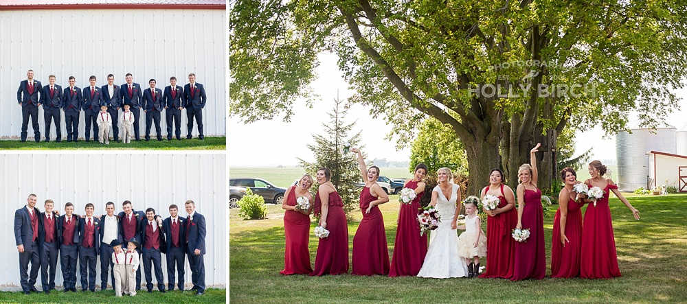 red and charcoal wedding party