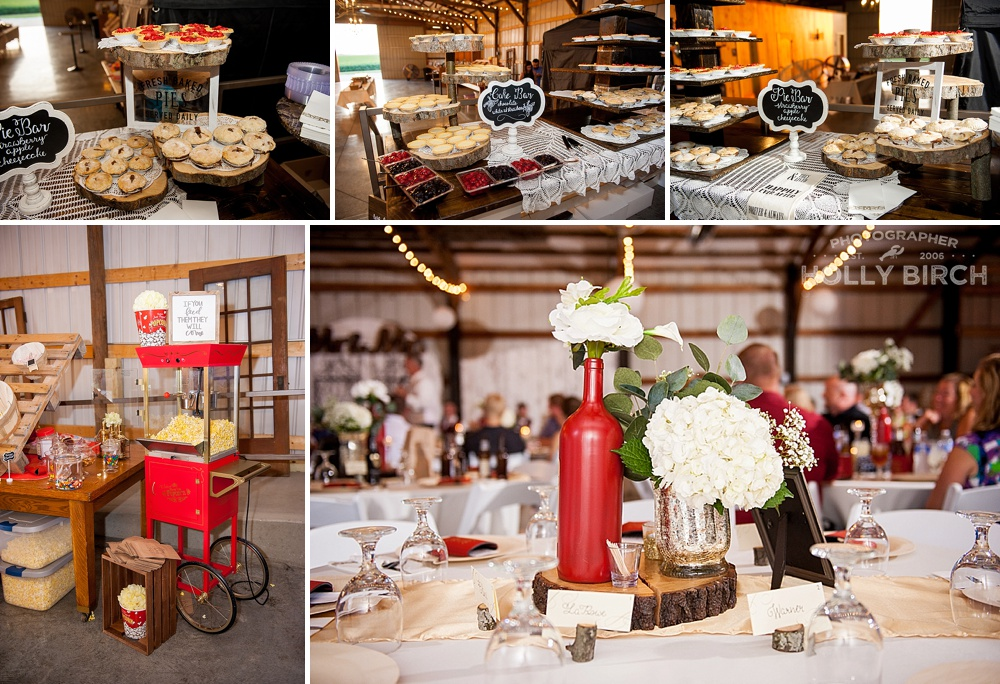 red and champagne wedding reception decor