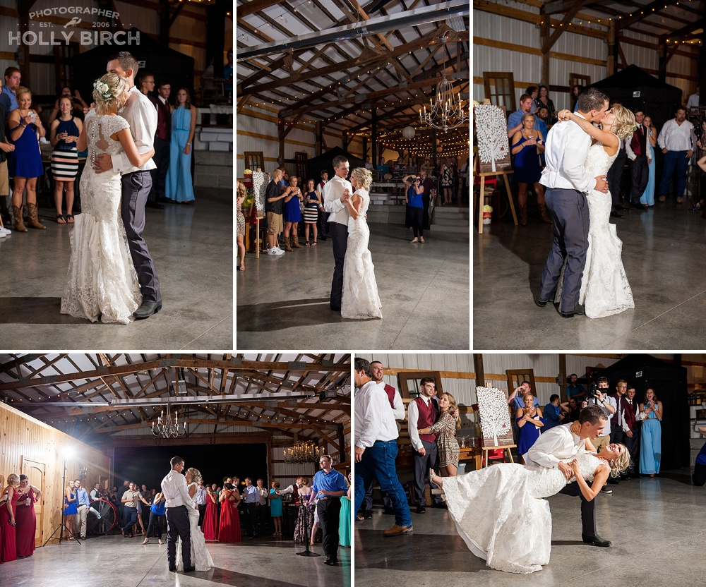 first dance at Hudson Farms reception shed