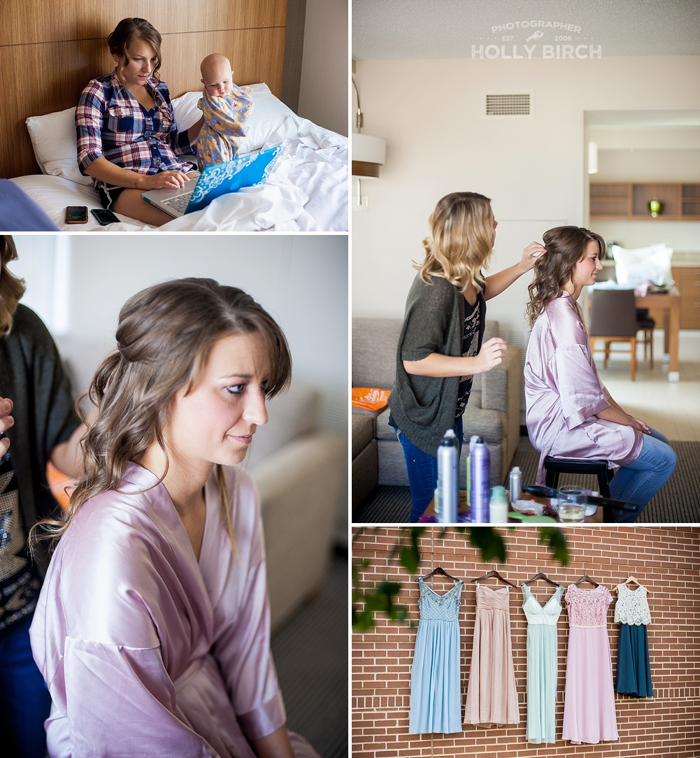 bridesmaids getting ready at Hyatt Place