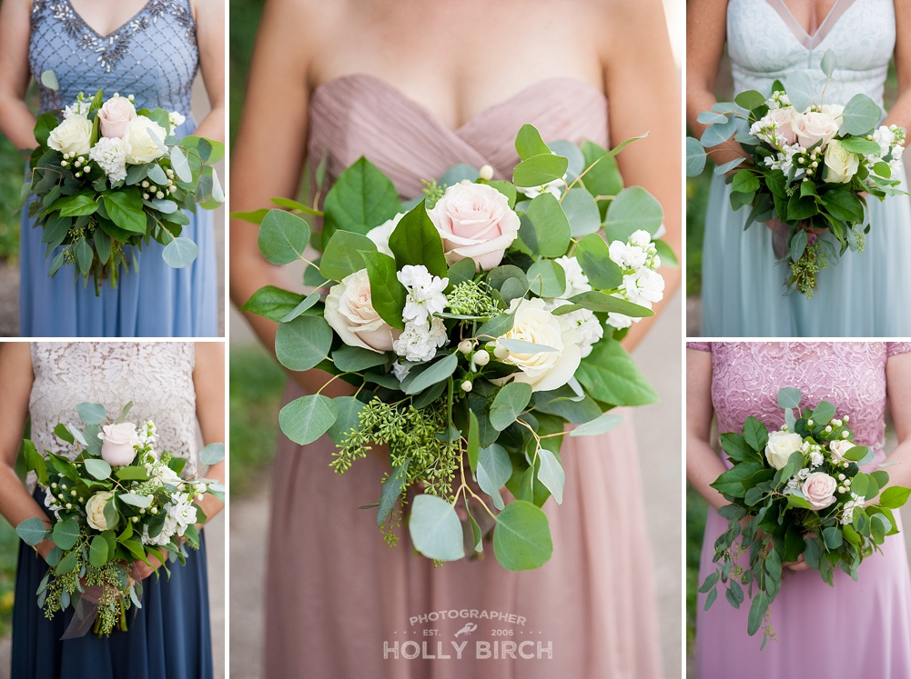 pastel wedding bouquets with coordinating dresses