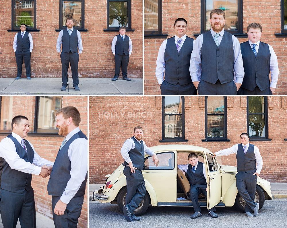 groomsmen portraits with VW bug