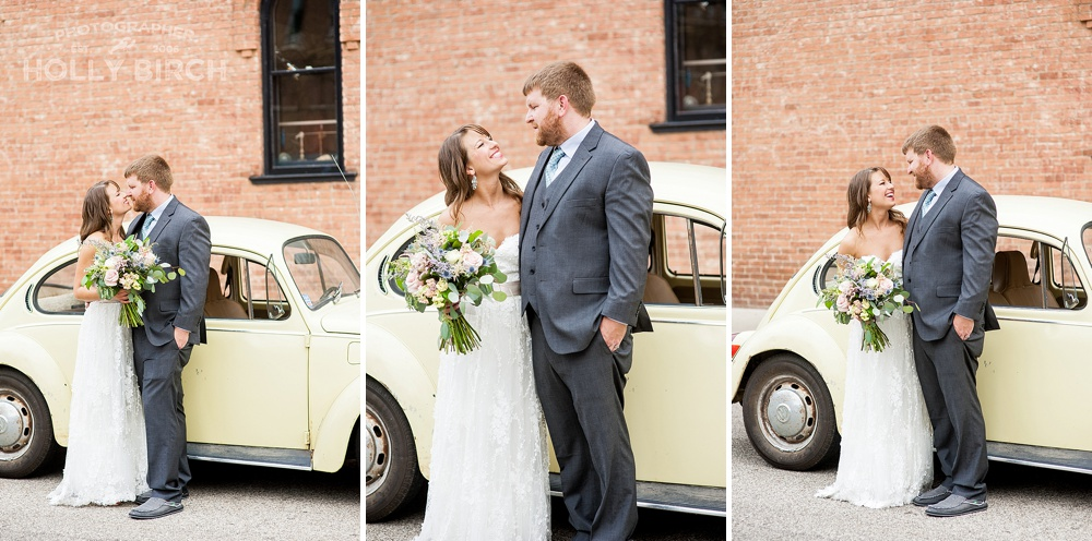 bride and groom with yellow VW bug