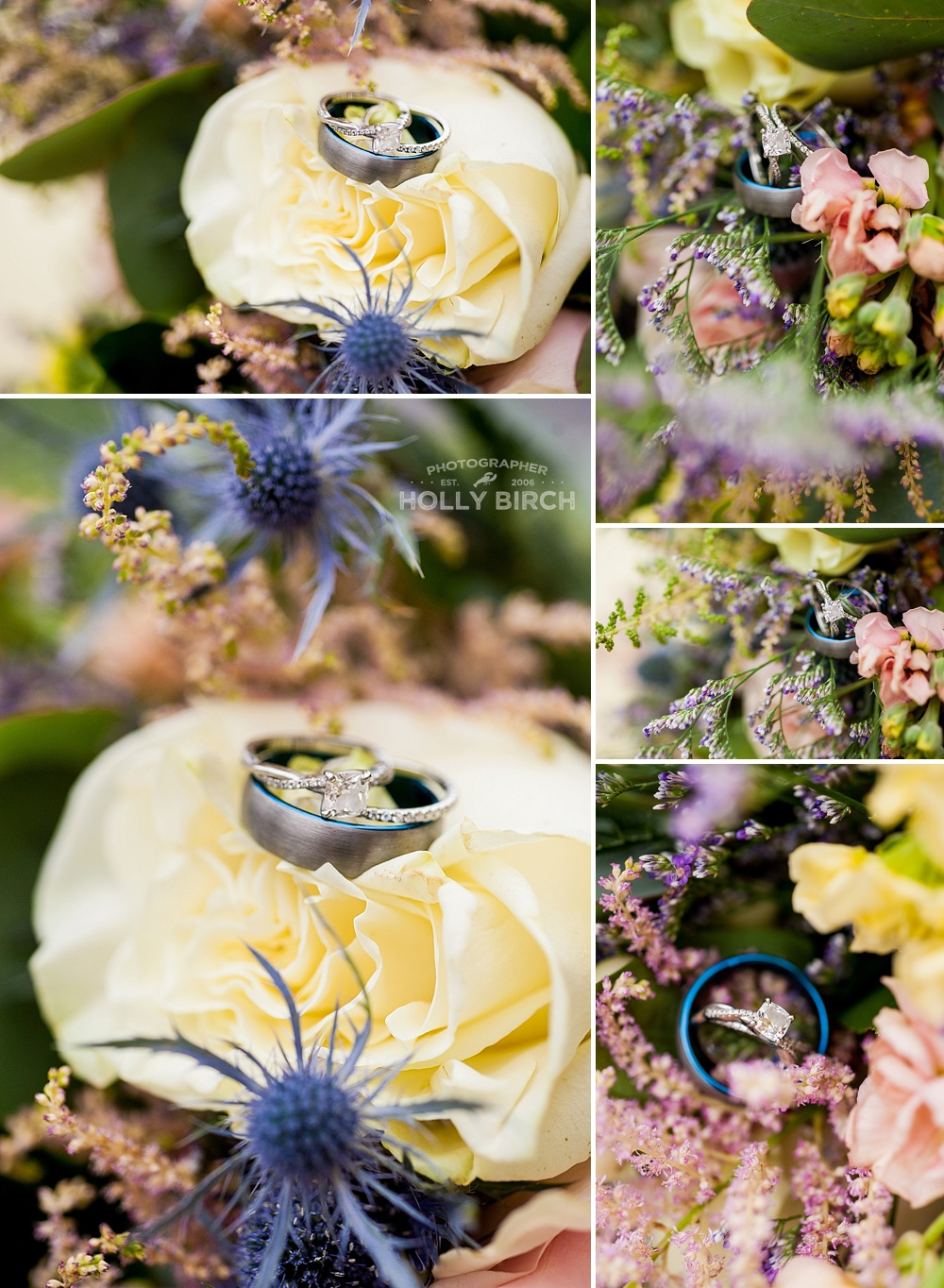 rings with pale wedding flowers