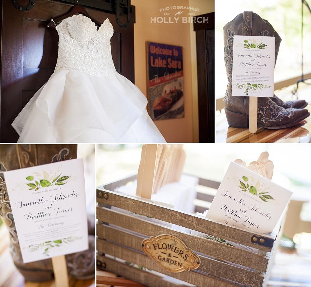 Lake Sara cabin wedding details