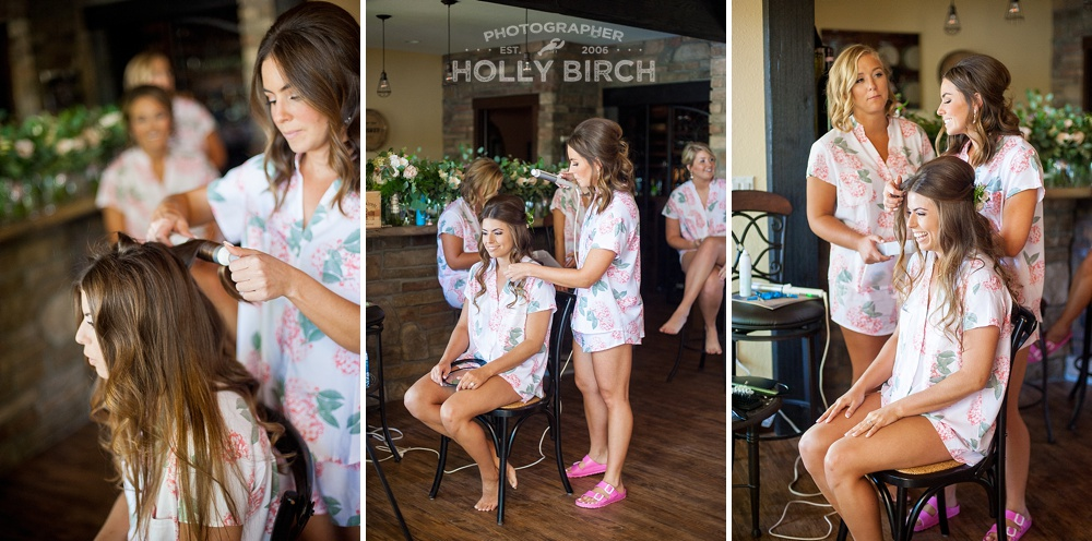 bride getting ready in floral pajamas