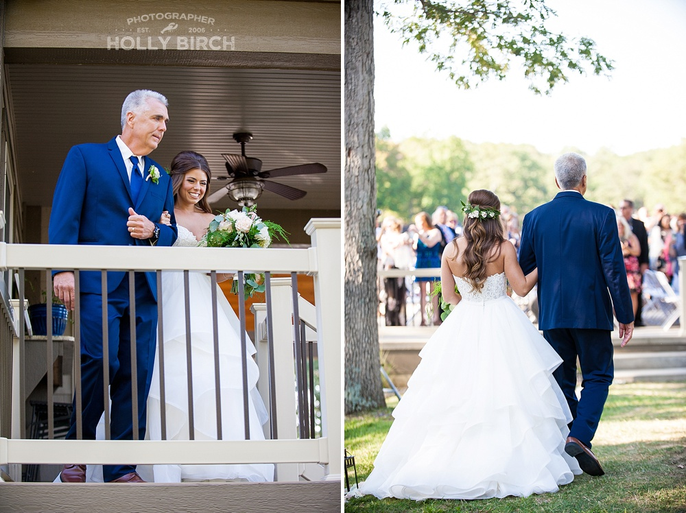 bride being escorted by her father