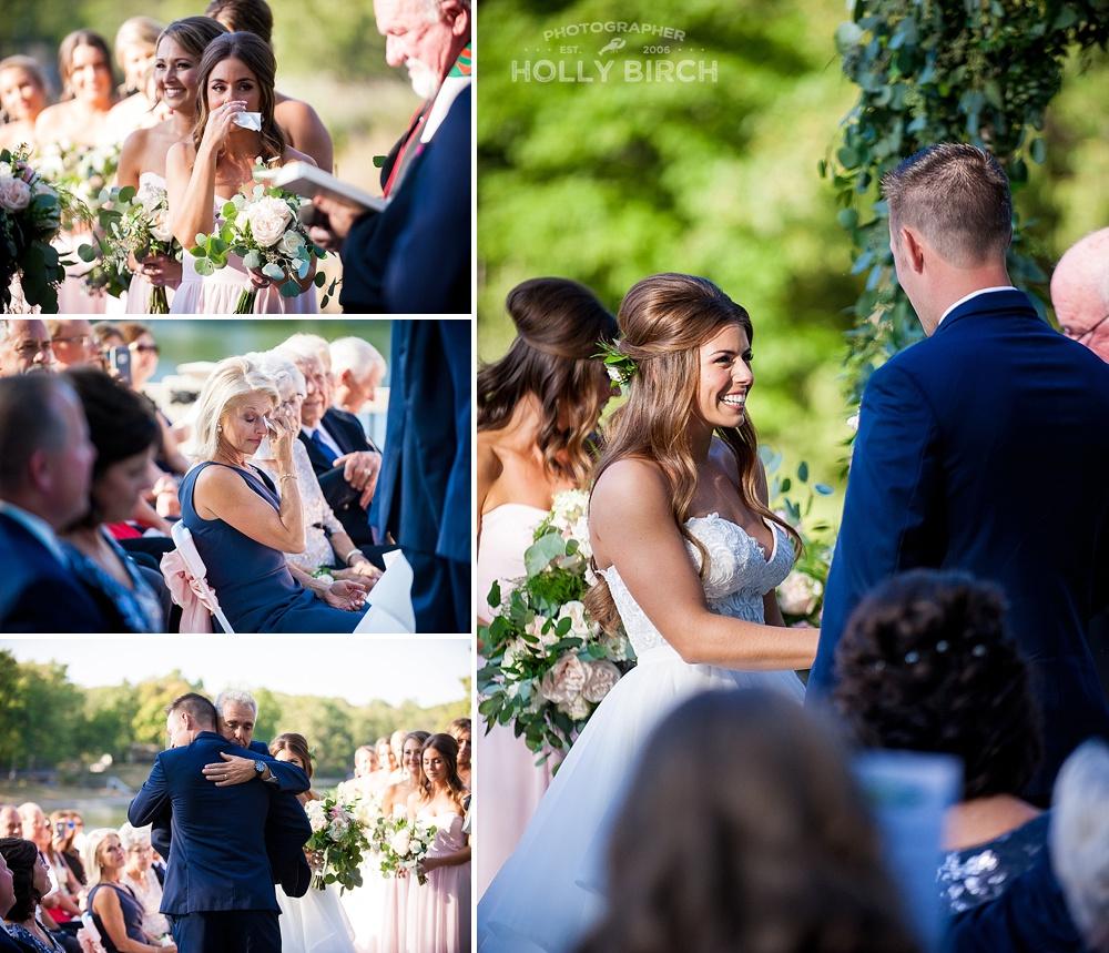 outdoor wedding ceremony on Effingham's Lake Sara