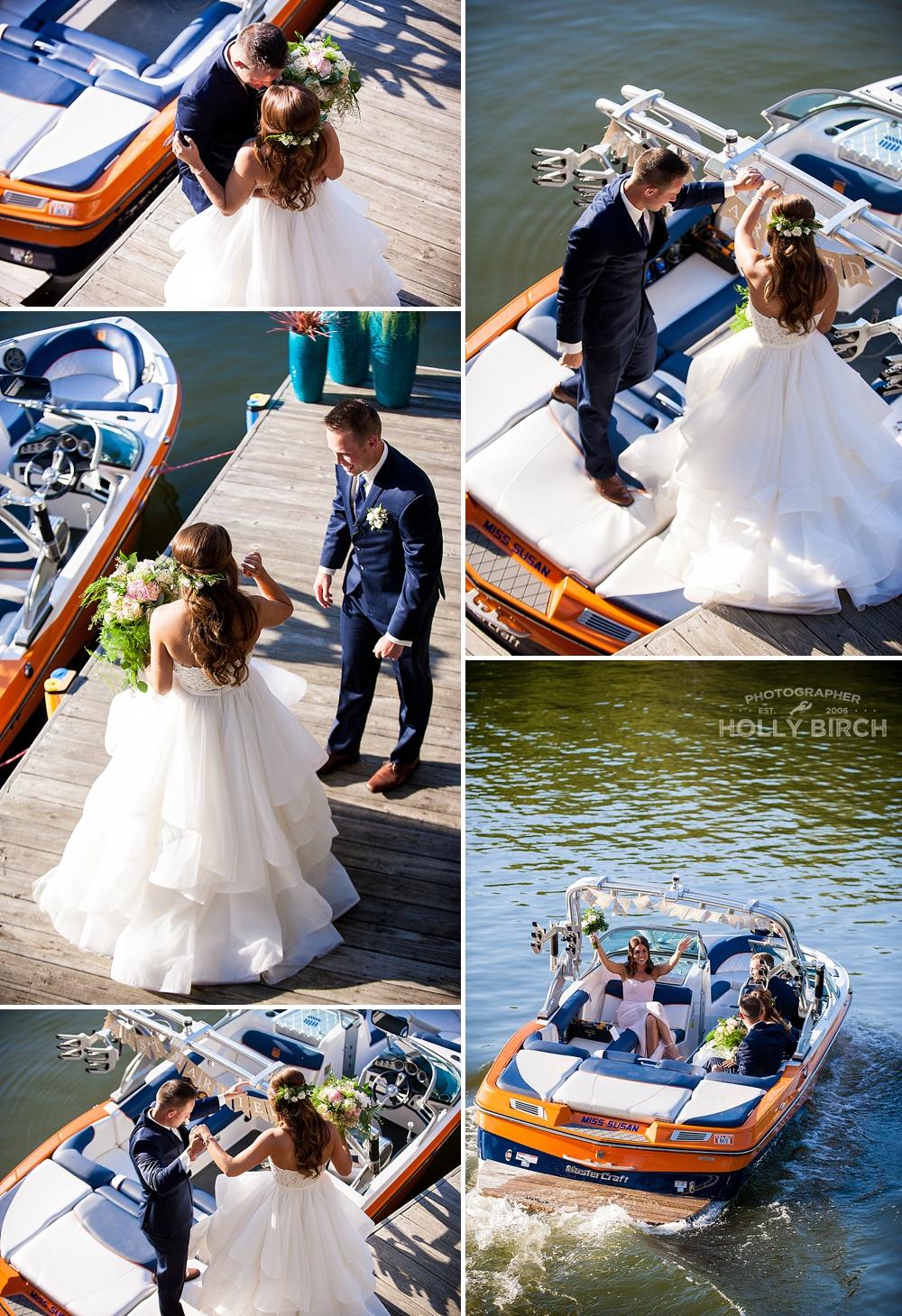 bride and groom boat getaway on Lake Sara
