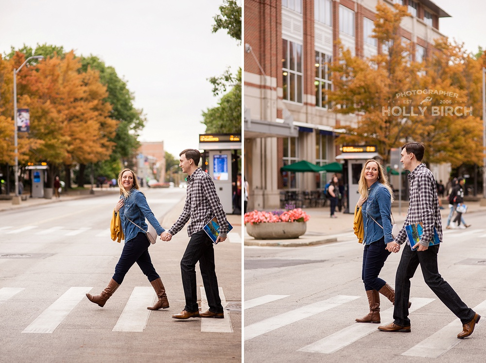 walking the crosswalk with fall campus colors