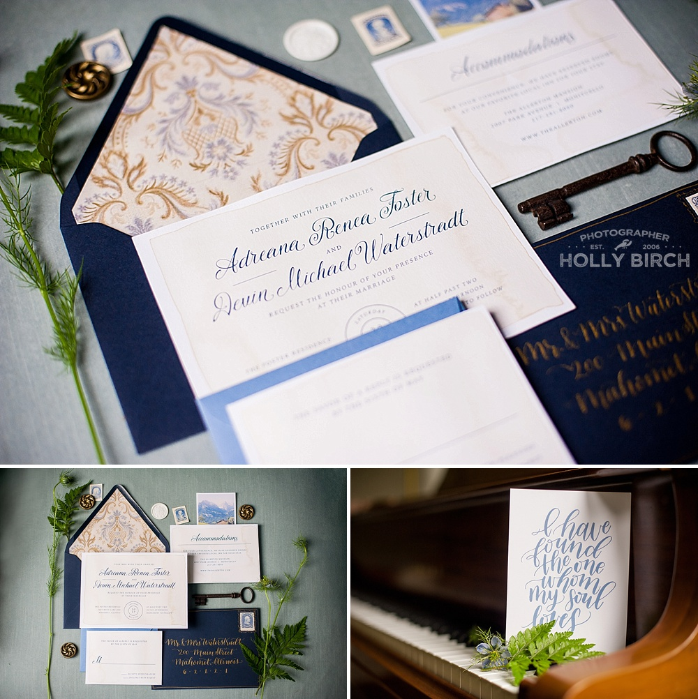 Austrian Sound of Music inspired wedding invitation suite