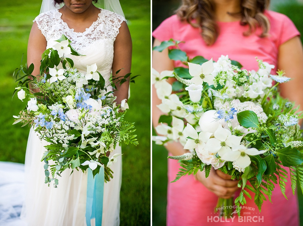 white dogwood branch floral bouquets with blue satin sashes