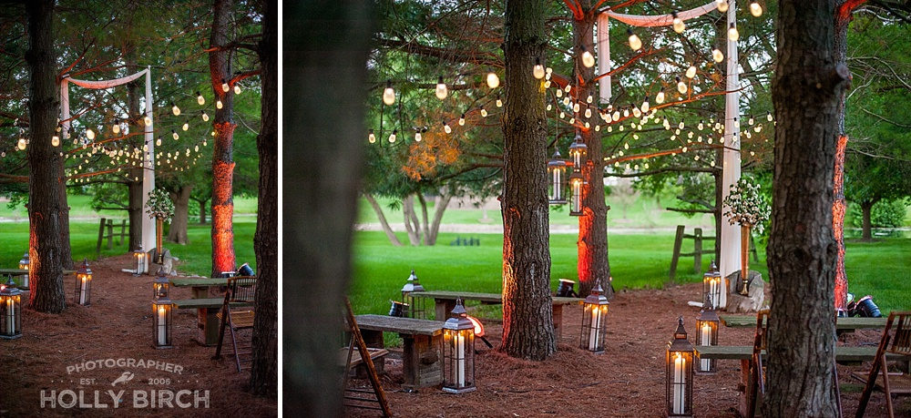 outdoor Austrian inspired wedding ceremony site with cafe bulbs and uplights