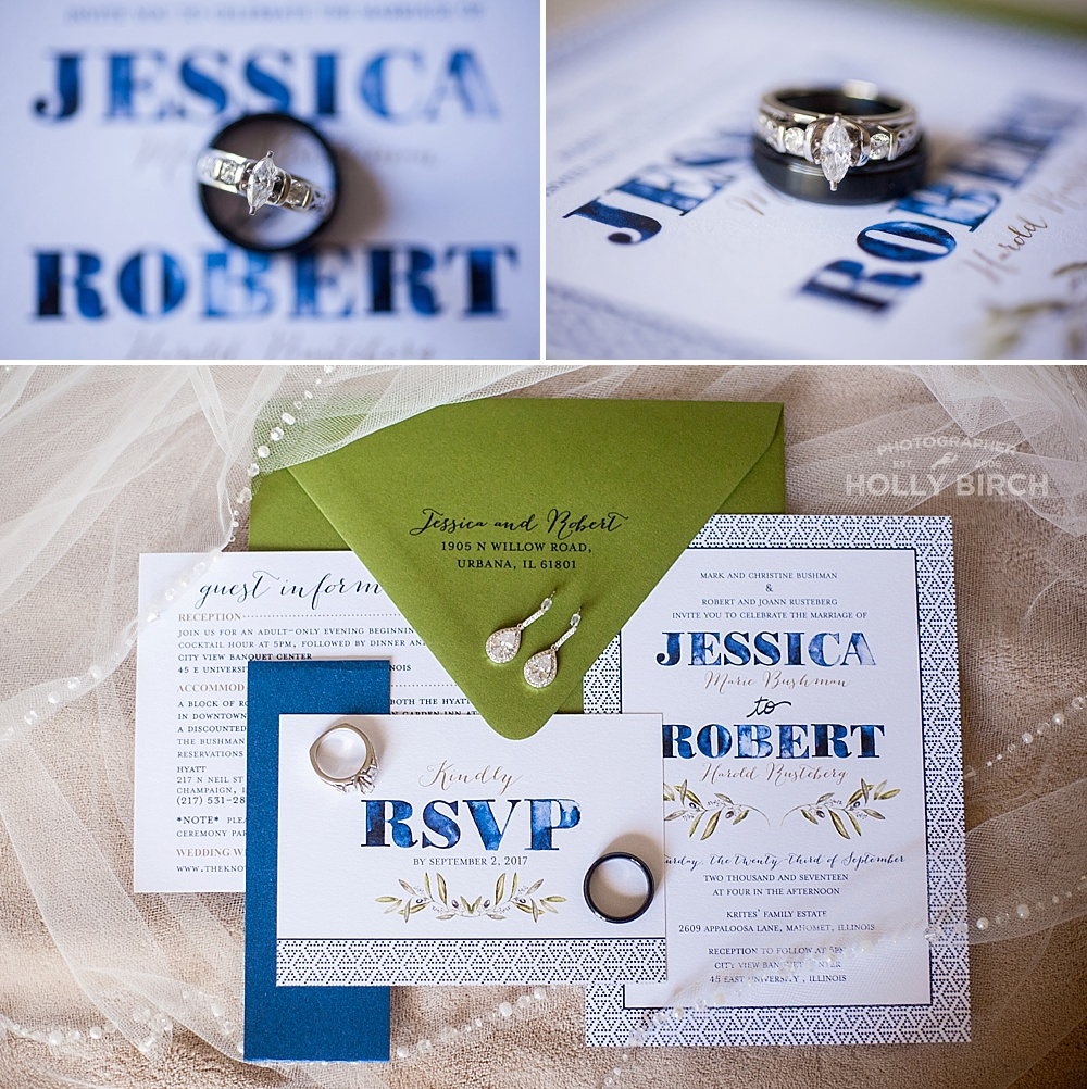 navy blue olive green wedding invitation
