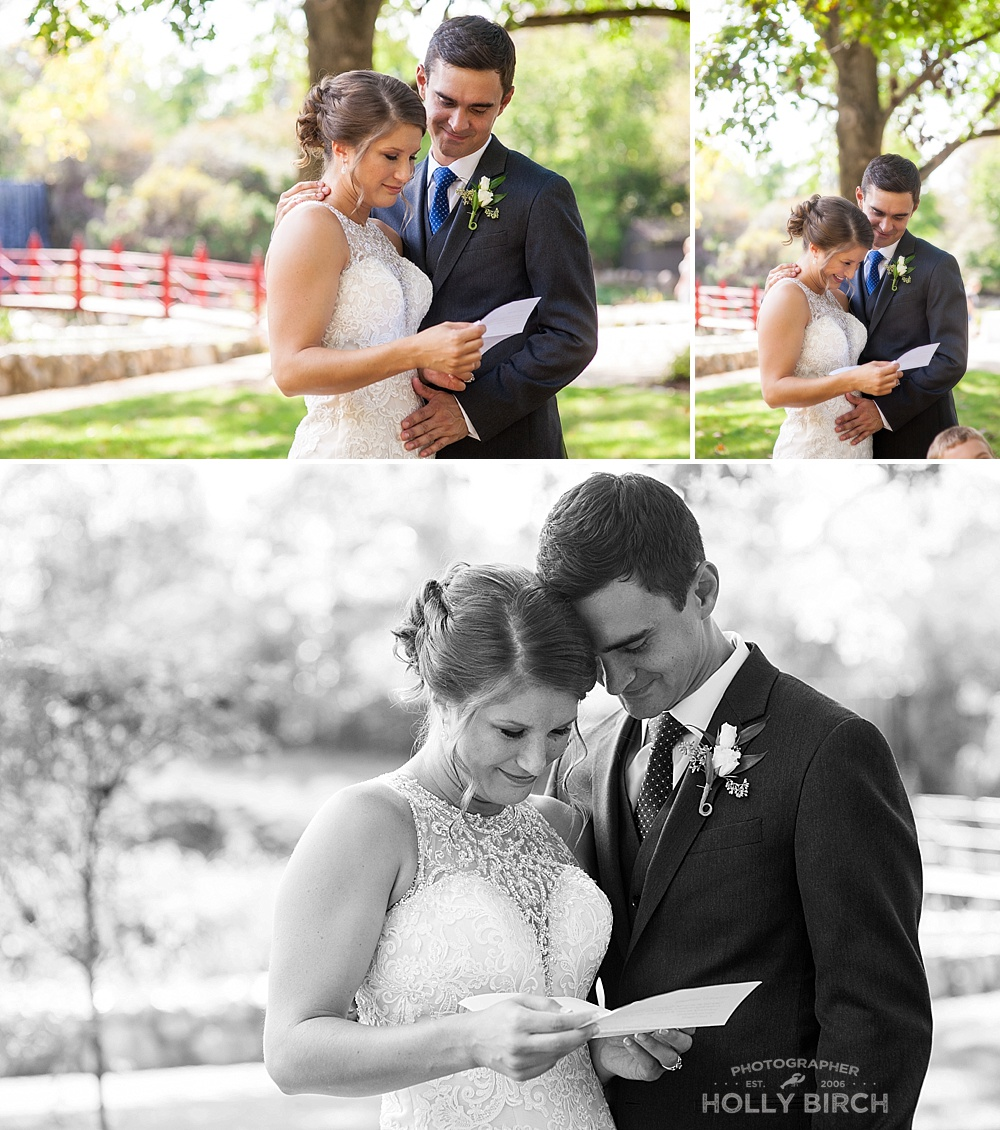 bride reading letter from the groom
