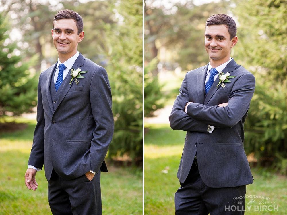 groom in dark gray suit