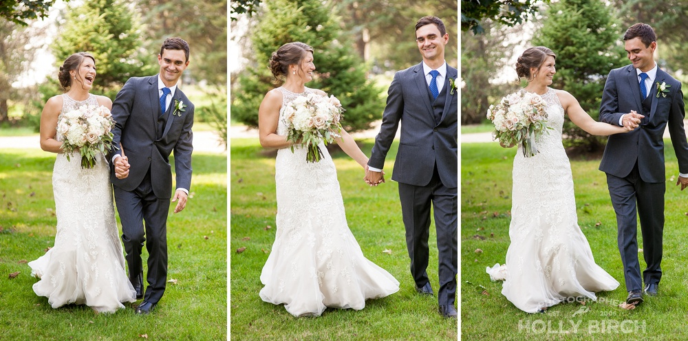 bride and groom walking and laughing