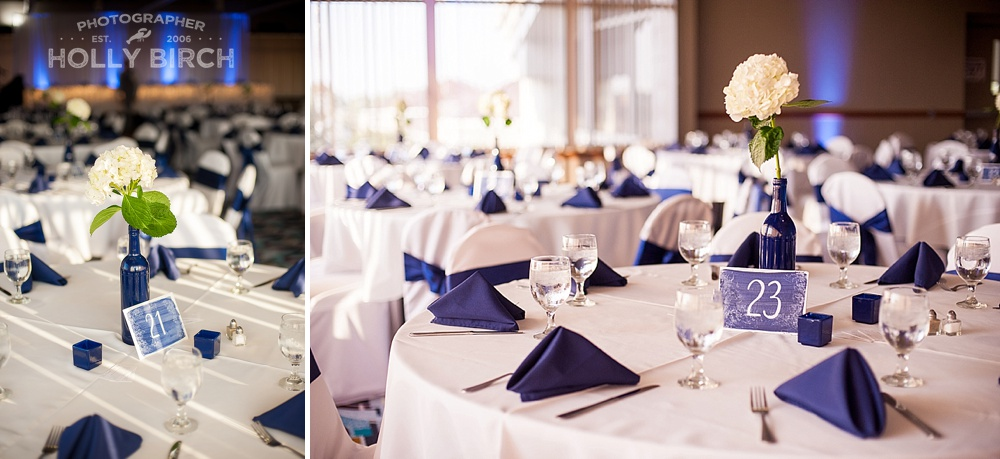 navy blue wedding reception tables