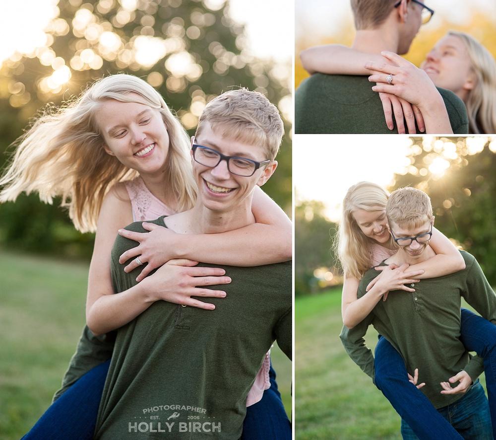 piggy back engagement session photos