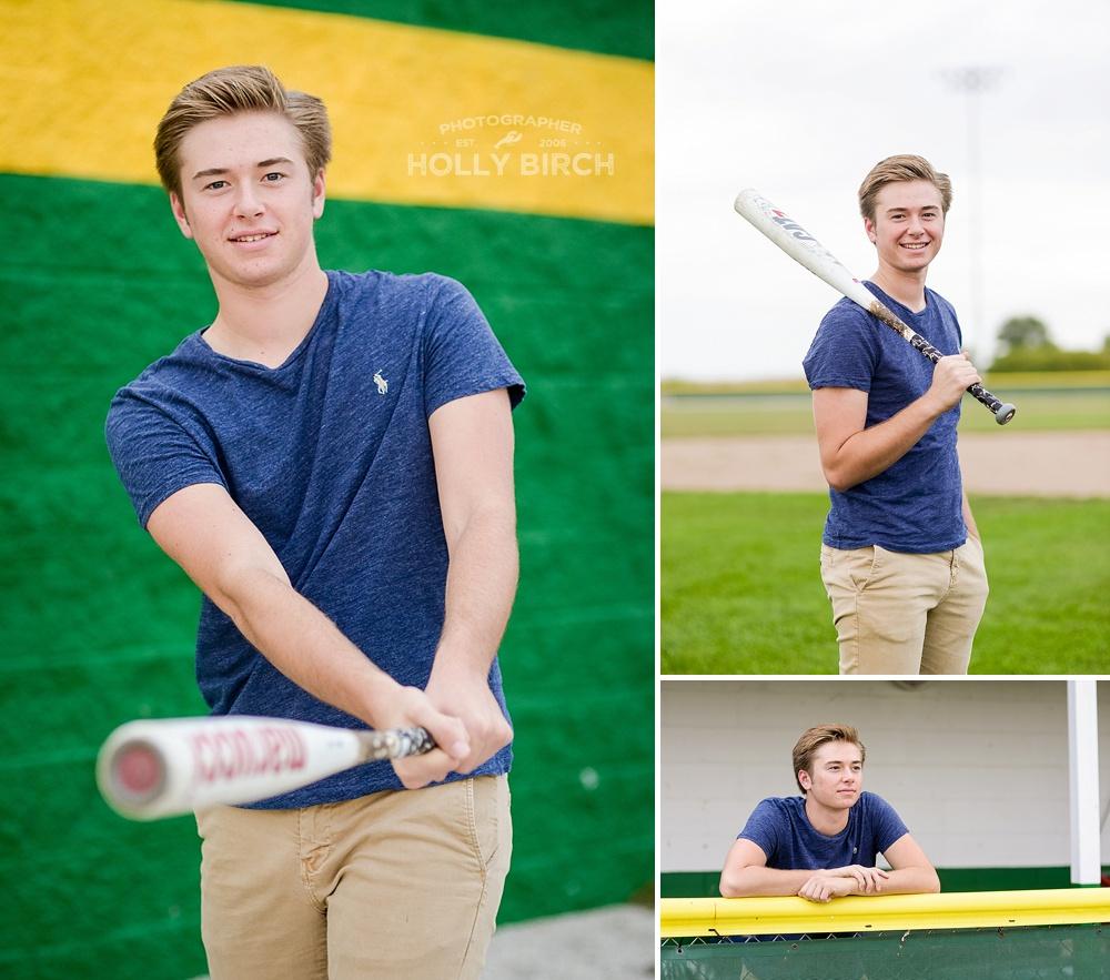 senior baseball player with ball bat