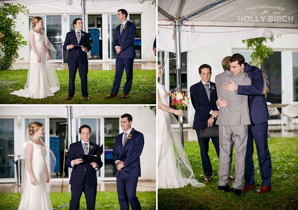 rainy wedding ceremony in tent