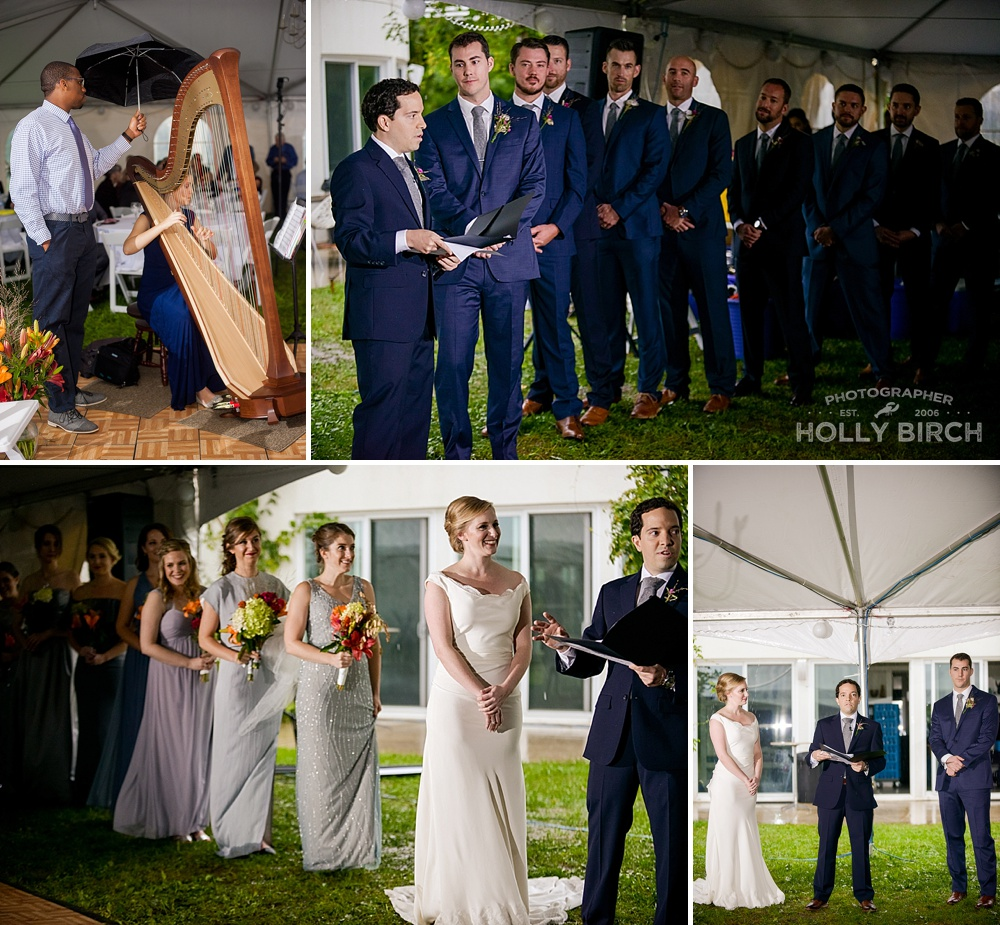 wedding party in ceremony tent