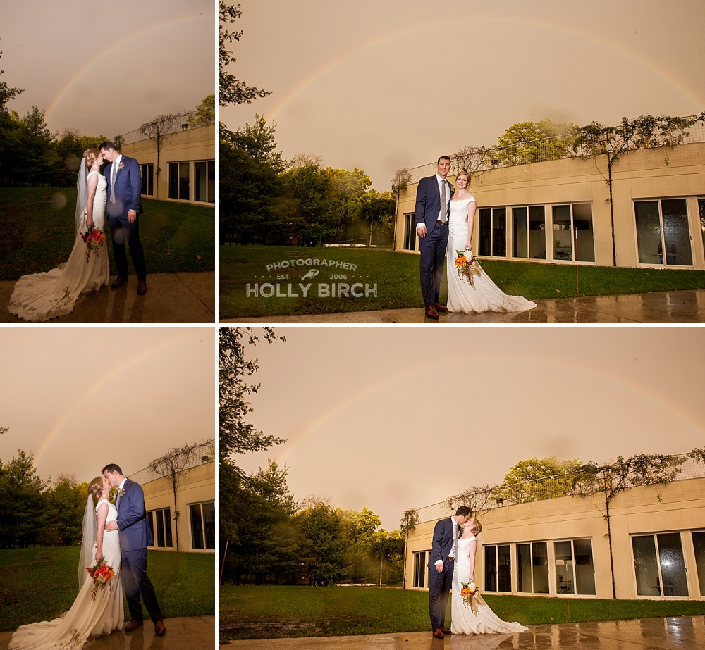 post rainstorm rainbow for wedding