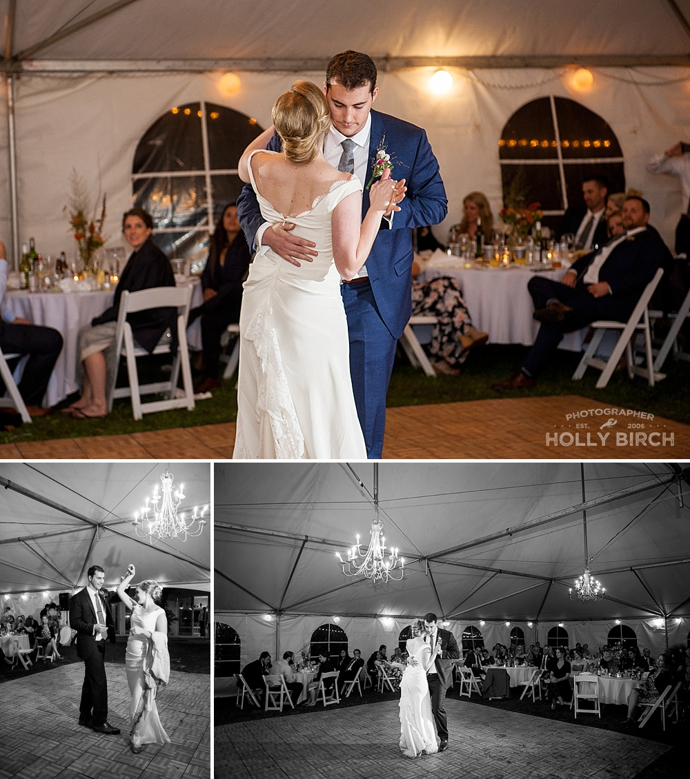 first dance as husband and wife in tent reception