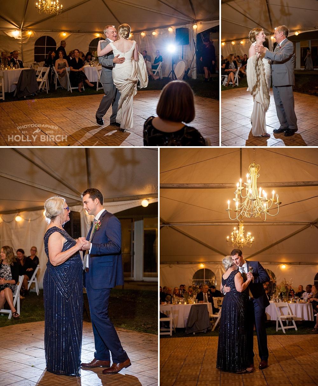parent dances in tent reception