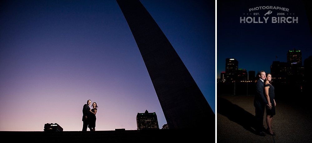 St. Louis Gateway Arch flash portraits of couple