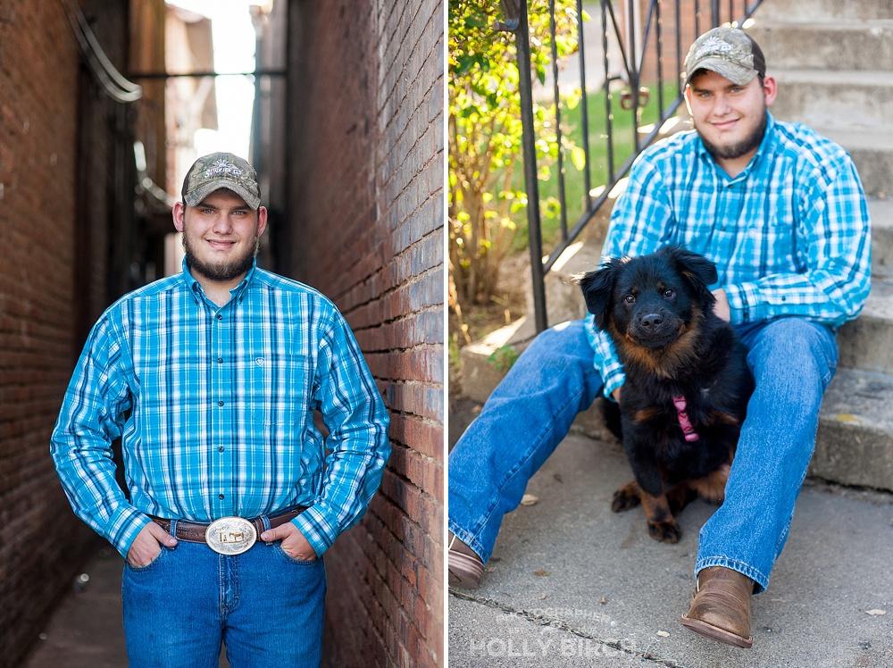 senior boy photos with dog