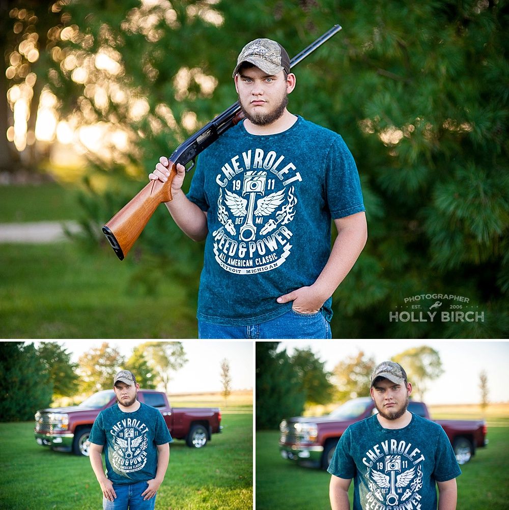 country guy senior photos with truck and gun
