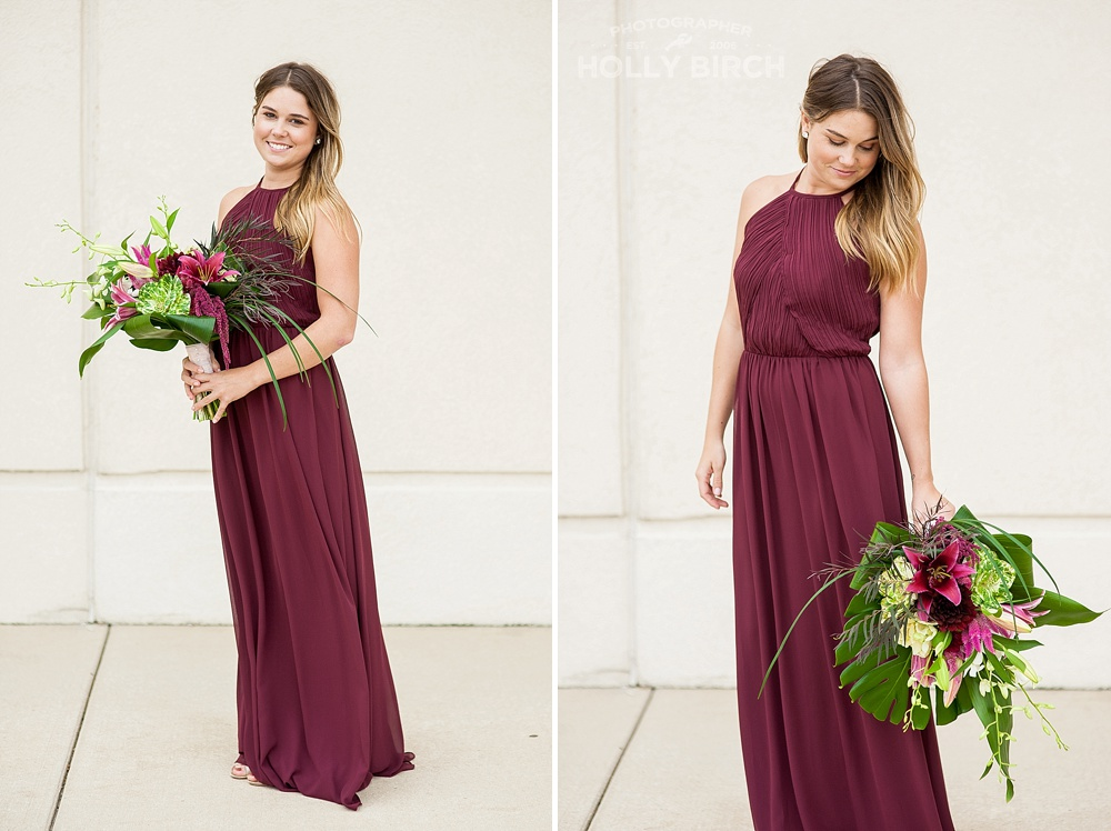 deep burgundy bridesmaid look with bouquet