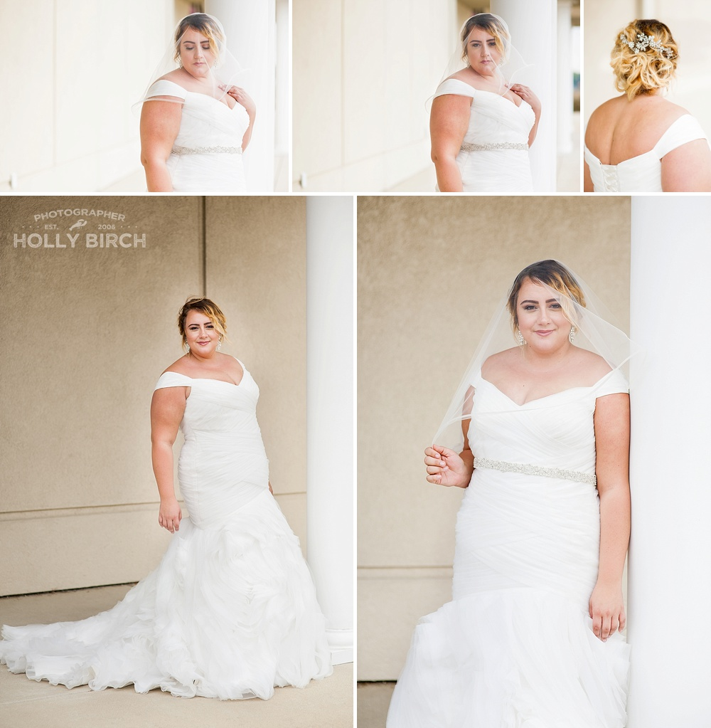 bridal gown look with accompanying veil