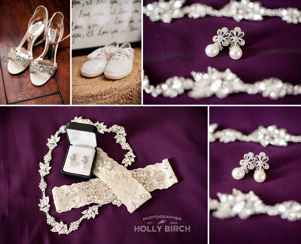 wedding jewelry and shoes on purple background